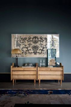 Love this colour palette with the print and faded rug too.