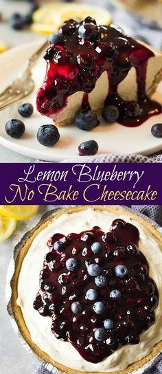Lemon Blueberry No Bake Cheesecake via @ohsweetbasil