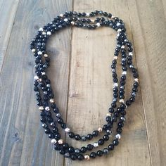 Long Black Beaded Necklace Long Bead Necklace Endless Wrap