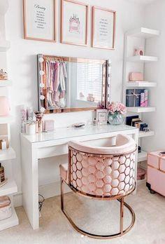 Room Design Bedroom, Girl Bedroom Designs, Room Ideas Bedroom, Home Room Design, Beauty Room Decor, Makeup Room Decor, Pinterest Room Decor, Bedroom Decor For Teen Girls, Cute Room Decor