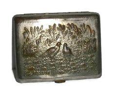 Antique PHEASANT Cigarette Case RUSSIAN Hunting Scene