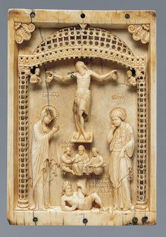 Plaque with the Crucifixion and the Defeat of Hades [Byzantine] (17.190.44) | Heilbrunn Timeline of Art History | The Metropolitan Museum of Art mid-10th century  Byzantine; Probably made in Constantinople  Ivory