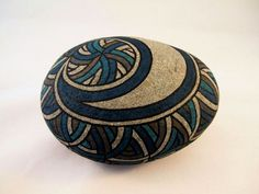 Unique Artwork 3D Art Object Painted Rock Blue by IshiGallery