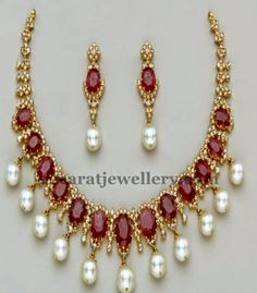 Latest Collection of best Indian Jewellery Designs. Ruby Jewelry, Jewelry Show, India Jewelry, Wedding Jewelry, Gold Jewelry, Beaded Jewelry, Jewelery, Women Jewelry, Jewelry Patterns
