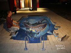 Breathtaking 3D Street Art by Nikolaj Arndt - CAT IN WATER