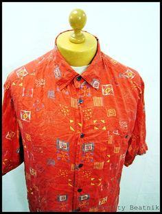 Vintage 1980s 80s AMAZING Red Disco Art-Deco Kite Indie Men's Shirt Large | eBay
