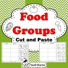 Food Groups Cut and Paste Worksheets, Distance Learning by Swati Sharma Cut And Paste Worksheets, Printable Worksheets, Food Groups, Group Meals, Nutrition Activities, Classroom Displays, Teacher Pay Teachers, Teacher Newsletter, Distance