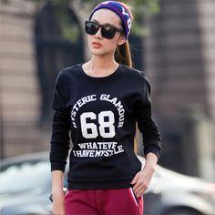 2017 Autumn Hoodies Women Letters Print Hoody Long Sleeve Sweatshirt Winter Women's Casual Pullovers Sportswear