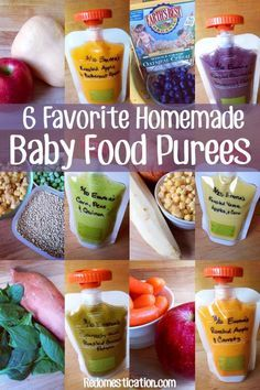 6 Favorite Homemade Baby Food Purees. Probably won't add the extras like salt, pepper and garlic powder but still some good recipes.