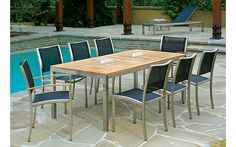 Scirocco Outdoor Furniture Collection   Stainless steel frames   Plantation teak trim   4 Batyline PVC mesh colors   Designed in U.S.A.