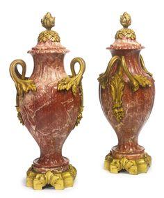 Susse Frères<br>A pair of Louis XVI style gilt-bronze mounted rouge de France marble urns<br>Paris, late 19th century   Lot   Sotheby's