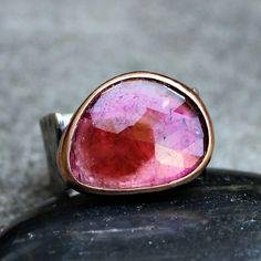 Watermelon Tourmaline Ring  Tourmaline Ring  Rose by lsueszabo