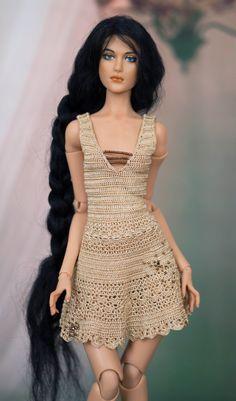 Crochet dress for Helga Reinhard BJD doll