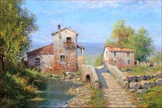 "Original Italian painting ""Old bridge"" Tuscany landscape of Claudio Pallini Italia Italy - Dipinto quadro paesaggio Toscana"