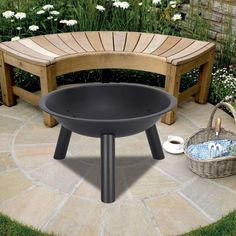 Round Iron Fire Pit Fire Bowl Outdoor Wood Burning Grill Patio Fireplace US Fire Pit Patio, Diy Fire Pit, Outdoor Fire, Backyard Patio, Backyard Ideas, Garden Ideas, Wood Burning Heaters, Wood Burning Fire Pit, Fire Pit Bowl