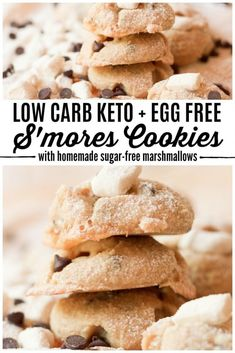 Low Carb Keto S'mores Cookies are so much fun for summertime! They're really easy to make, egg-free, only have 7 ingredients, are packed with homemade sugar-free marshmallows and are simply irresistible. | Recipes to Nourish | gluten-free cookies | sugar-free cookies | keto cookies | paleo cookies | smores cookie recipe | gluten-free treats || #cookies #ketorecipes #sugarfree