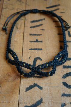 Macrame collar statement necklace with antique by elfandnumbat