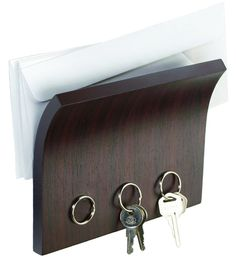 This Espresso Letter Holder and Magnetic Key Rack provides a convenient way to keep your mail and keys stored and organized.