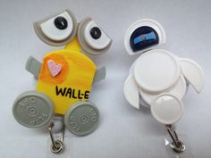 Pair of Handmade Pixar's Wall-E and Eve vial flip cap Retractable ID BADGE (2 white) by MyMindfulMakings on Etsy