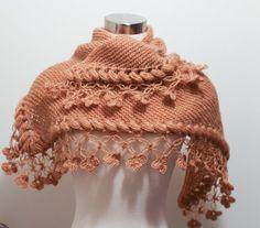 Knitting Caramel Shawl Scarf // Winter accessories // Shrug // Bolero / Crochet scarf shawl shrug