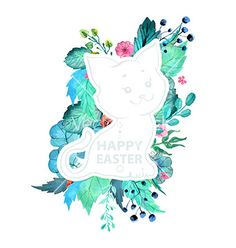Easter watercolor natural with kitten sticker vector 4032906 - by Elmiko on VectorStock®