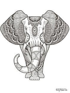 Elephant Abstract Doodle Zentangle Paisley Coloring pages colouring adult detailed advanced printable Kleuren voor volwassenen coloriage pour adulte anti-stress kleurplaat voor volwassenen Line Art Black and White