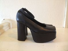 6e607f4f92ff 90s Luichiny Black Club Kid Leather Mary Jane Ankle Strap Mega Platform 38  8-8.5