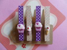 Lot 4 pinces à linge cupcakes et glaces : Accessoires de maison par simply-so-cute
