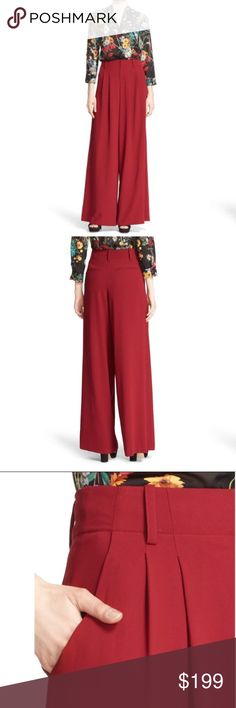 """Alice & Olivia Eloise Pleated Wide Leg Pant Eloise Pleated Wide Leg Trouser by Alice & Olivia. NWT   Add a bold dose of color and movement to your wardrobe with these statement trousers, pleated and cut with a flattering high rise. * 33 1/2"""" inseam; 31"""" leg opening; 15"""" front rise; 16"""" back rise (size 8). * Zip fly with hook-and-bar closure. * Front slant pockets; back welt pockets. * Stretch lining. * 100% polyester Alice + Olivia Pants Trousers"""