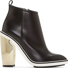 Nicholas Kirkwood Black Leather Metallic Platino Heel Boots