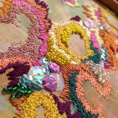 Under the sea embellishment -'snorkelling over the corals' by me! Tambour Embroidery, Embroidery Fashion, Embroidery Applique, Cross Stitch Embroidery, Machine Embroidery, Fabric Embellishment, Embellishments, Weaving Textiles, Fabric Manipulation