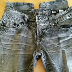 """DROP! Miss Me Black Destructed Skinny Jeans Miss Me Distressed wash destructed skinny jeans, size 26. They have been worn and are sold as is. Not damaged,  just the cute rips/holes pictured. Inseam is 32"""". Miss Me Jeans Skinny"""