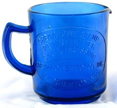 Cobalt Blue vintage GLASS MEASURING CUP Cream Dove Brand Peanut Butter Dressing