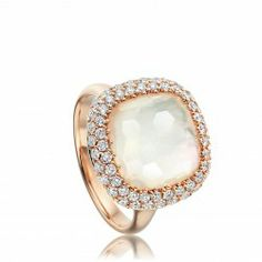 18 carat rose gold white mother of pearl quartz and diamond ring from astleyclarke.com