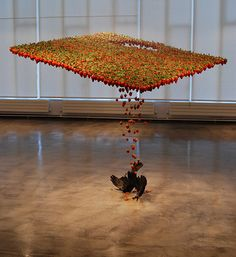 Strawberry Blanket - Claire Morgan: Sculptures that look like they are in motion.