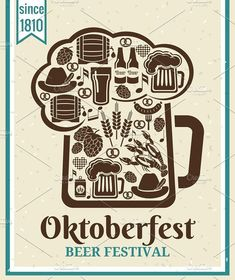 Oktoberfest Beer Festival poster design with the outline of a tankard of beer incorporating icons of German beer in bottles can tankard glass keg cask barrel Beer Week, Drinking Games For Parties, British Beer, Oktoberfest Beer, Beer Poster, Beer Festival, Food Festival, German Beer, Festival Posters
