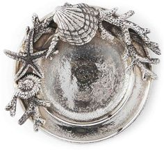 Scallop Shells Coral Starfish Coastal Wine Bottle Coaster Silver Metal Mud Pie