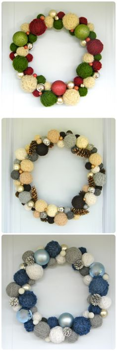 I really need to do this!!  12 Days of Door Decor Day #4 Yarn Ball Wreath | FYNES DESIGNS