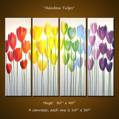Amy Giacomelli Wall Art Rainbow Original Large Abstract Flower Painting   .. red yellow green blue violet...Rainbow Tulips