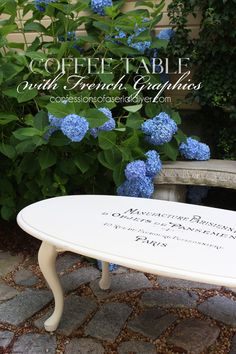 Coffee Table with French Graphics