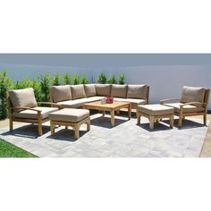 Outdoor Willow Creek Huntington 10 Piece Teak Sectional Patio Conversation Set with Square Chat Table Canvas Camel - WC-26-5468