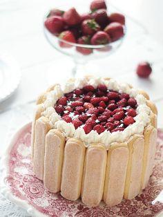 Charlotte cake with wild strawberries