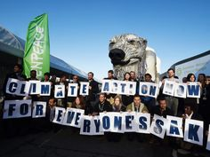 PHOTO: Greenpeace activists hold signs reading Action Now for everyones sake in front of Greenpeaces giant puppet polar bear Aurora during a protest at the COP21 United Nations climate change conference in Le Bourget, outside Paris, Dec. 9, 2015.