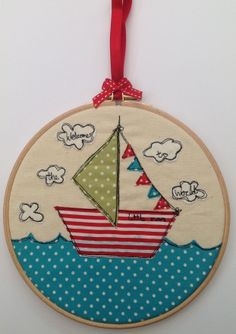 www.sallysews.co.uk Boys nursery embroidery hoop artwork