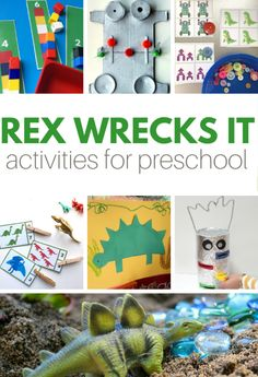 Super fun preschool activities for Rex Wrecks It. This is a fantastic preschool book and these preschool activities make reading it even more fun. Circle Time Activities, Lego Activities, Sight Word Activities, Letter Activities, Creative Activities, Nature Activities, Preschool Lesson Plans, Preschool Books, Preschool Classroom