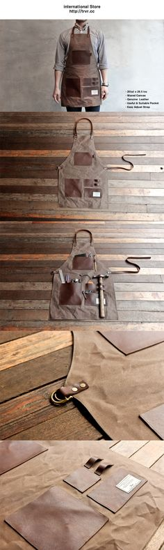 Gentleman's waxed canvas & leather apron