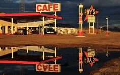 This is a cafe along the former Route Okies like the Joads were most likely unable to eat here, but they existed nonetheless, almost to taunt the migrants. Route 66 Attractions, Road Routes, Mojave Desert, Gas Station, Southern California, Journey, Places, Abraham Lincoln, Roads