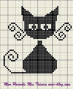 Cat cross stitch graph but it would look great translated to knitting!