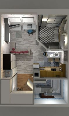 design of an apartment of 30 square meters – – Wohnung ideen - Modern Studio Apartment Floor Plans, Studio Apartment Layout, Studio Layout, Studio Apartment Decorating, Apartment Plans, Apartment Design, Studio Design, Apartment Ideas, Tiny House Layout