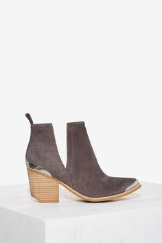 Jeffrey Campbell Cromwell Suede Bootie - Gray - Boots + Booties | Back In Stock | Back In Stock | Booties + Accessories | All Vintage Tees + Denim